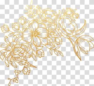 Fleur euclidienne, peint des fleurs dorées, illustration florale brune png
