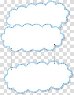 Mise en page, nuages de dessin animé de frontière bleue, décoration murale de nuages blancs et bleus png