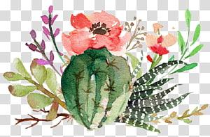 Invitation de mariage Soirée de célibataire Douche nuptiale Cactaceae, Succulentes en fleur de cactus, peinture de cactus rouge et vert png