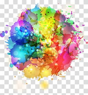 peinture abstraite, encre aquarelle, graffiti encre de couleur ronde png