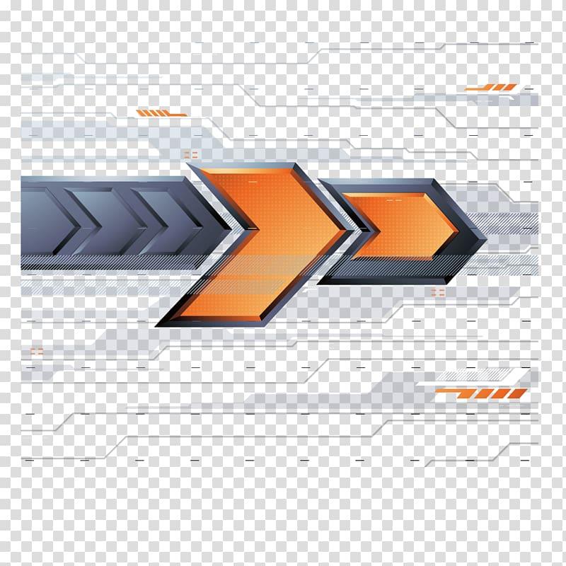 illustration de flèche grise et orange, flèche jaune euclidien, arrière-plan de bannière de technologie png