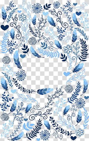 peinture de feuille bleue, invitation au mariage Convite, plantes à plumes bleues png