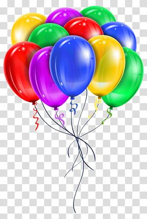 Ballon, ballons multicolores, illustration du lot de ballons de couleurs assorties png