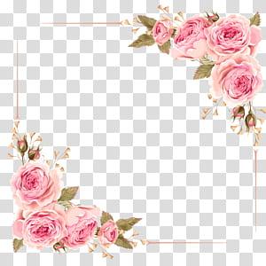Invitation de mariage fleur rose rose, bordure rose, cadre numérique fleur rose rose png