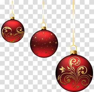 Décoration de Noël, décoration de Noël, boules de Noël rouges, trois illustrations de boule rouge png