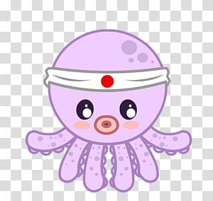 poulpe rose illustration, poulpe Takoyaki dessin Kavaii, créative mignon petit dessin animé poulpe png