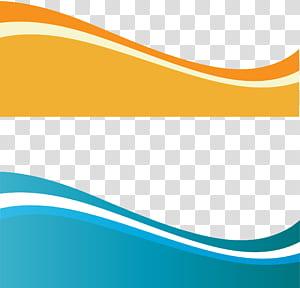 Dessin euclidien, vague dynamique, deux vagues sarcelle et jaune png