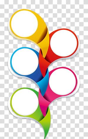 Icône, frontière de cercle créatif, art jaune, rouge et bleu courbé png