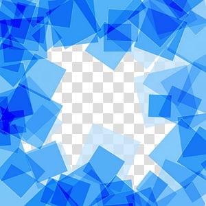 Carré, fond Abstrait carré bleu, bordure bleue png