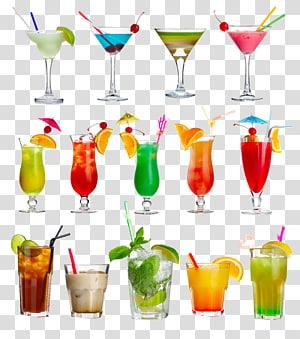 Cocktail Mojito Margarita Blue Lagoon Daiquiri, jus de boissons, illustration de boissons assorties png