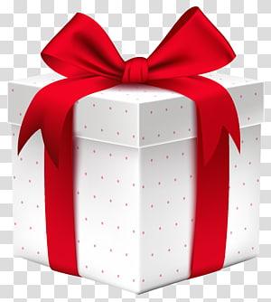 Boîte cadeau, boîte cadeau blanche avec noeud rouge, illustration de boîte cadeau rouge et blanche png