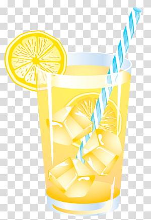 Boisson d'été au citron, limonade à la paille bleue dans un graphique en verre png