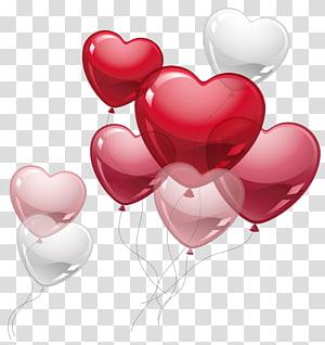 Ballon coeur, ballons coeur mignon, ballons coeur rouge et blanc png