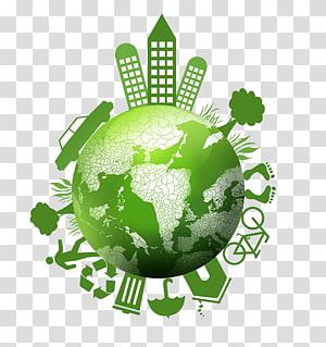 monde vert et blanc, Terre Ecologie Balance de la nature Environnement, Green Earth Village png