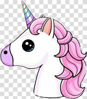 illustration de licorne blanche et rose, licorne dessin bureau mignon, arc-en-ciel de licorne png