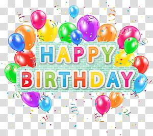 Balloon anniversaire, texte joyeux anniversaire déco avec des ballons, illustration de texte et ballons joyeux anniversaire png