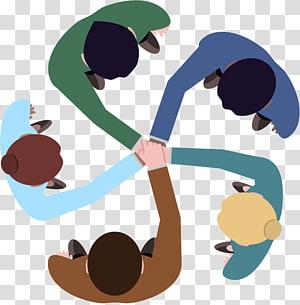 Logo de travail d'équipe, travail d'équipe, illustration de groupe de cinq personnes png
