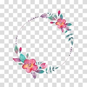 cadre de fleurs rondes roses et vertes, aquarelle YouTube, FLORAL CIRCLE png