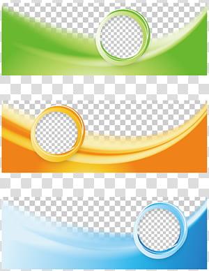 Bannière Web Flyer, collage de cadre tricolore Business Banner, vert, orange et bleu png
