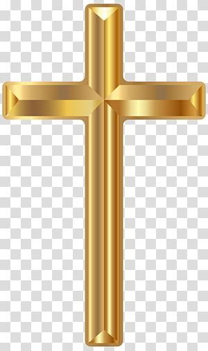 Classeur en croix doré, croix en or, croix décorative dorée png