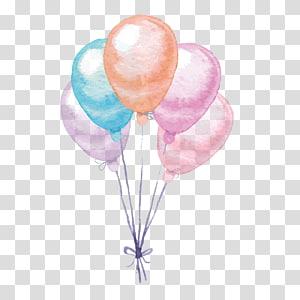 Balloon Aquarelle, ballons colorés, illustration de cinq ballons de couleurs assorties png