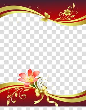 illustration de frontière de lis rouges et or, broche de papier papeterie fleur, frontière de lettre de vent chinois png