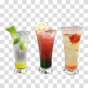 trois verres clairs remplis de boissons, cocktail Bacardi Sea Breeze Caipirinha Coffee, trois verres de cocktails png