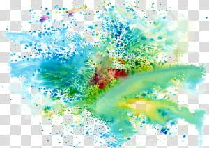 Couleur d'encre, couleurs froides, éclaboussures de couleur de la peinture, carte graphique verte, rouge et bleue png