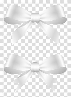 illustration de deux arcs blancs, noeud de lacet ruban blanc noeud papillon, nœuds blancs png