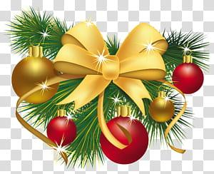 Décoration de Noël Ornement de Noël Cadeau, décoration de Noël, boules dorées, bleues et vertes et illustrations numériques avec accent d'arc png