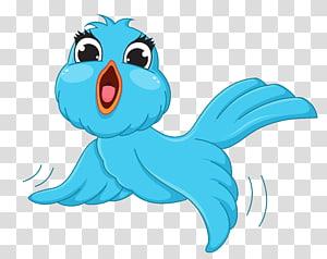 Bird, Blue Bird Cartoon, illustration oiseau bleu png