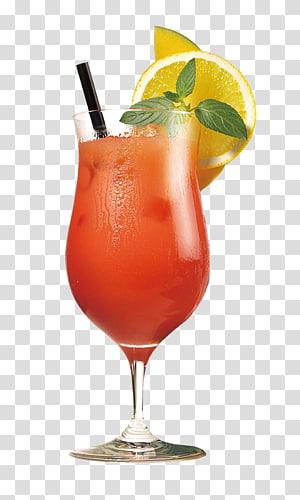 boisson presque rouge avec de la paille et du citron en tranches, jus d'orange cocktail Martini Sex on the Beach, jus de gobelet png