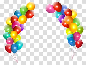 Anniversaire de ballon, décor de ballons colorés, arrangement de ballons de couleurs assorties png