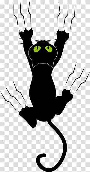 illustration de chat noir, patte de chien chat chaton, les marques de griffe du chat noir png