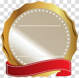 Logo RedSeal, Sceau d'or avec ruban rouge, logo gris et or png
