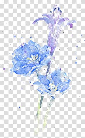 Aquarelle fleur d'encre, aquarelle, illustration de fleurs bleues et violettes png