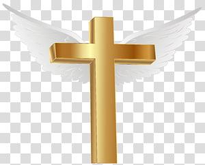 Croix brune avec illustration des ailes, fichier informatique de la croix d'or de l'île de Lihir, croix d'or avec des ailes d'ange png