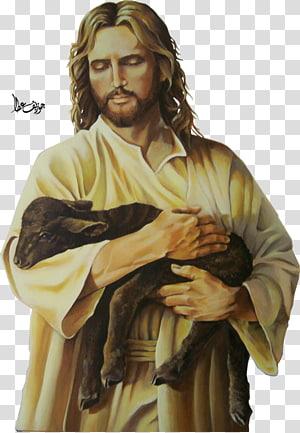 Jésus christ, tenue, mouton, illustration, jésus psaumes psaume 23 bible psaume 28, jésus christ png