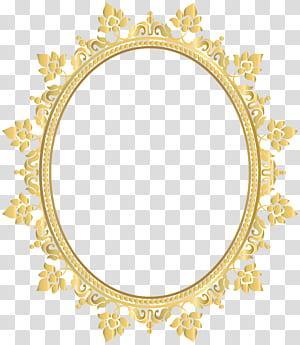 Monture de verres légers, cadre à bordure décorative ovale, cadre à fleurs jaune png