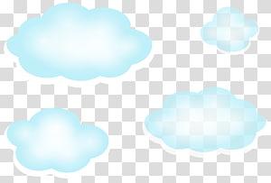 Ciel bleu nuage, nuages, quatre nuages bleus png