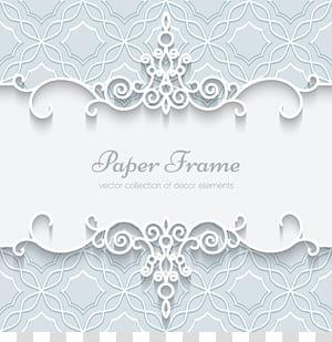 Invitation de mariage en papier Dentelle, Carte de motif de bordure de dentelle blanche, Publicité pour cadre de papier png