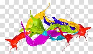 Couleur Holi, Splash, éclaboussures de peinture multicolores png