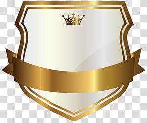 Étiquette or, étiquette blanche avec bannière dorée, logo blanc et or png