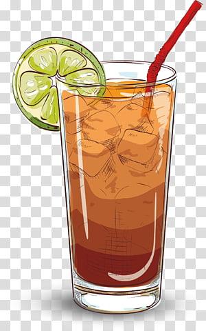 Liquide brun à l'intérieur du verre avec des glaçons et du citron vert et de la paille en tranches, Long Island Iced Tea Cocktail Rum Gin, Creative Juices png