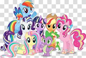 Illustration des personnages de mon petit poney, Pinkie Pie Rainbow Dash Twilight Sparkle Applejack Rareté, mon petit poney png