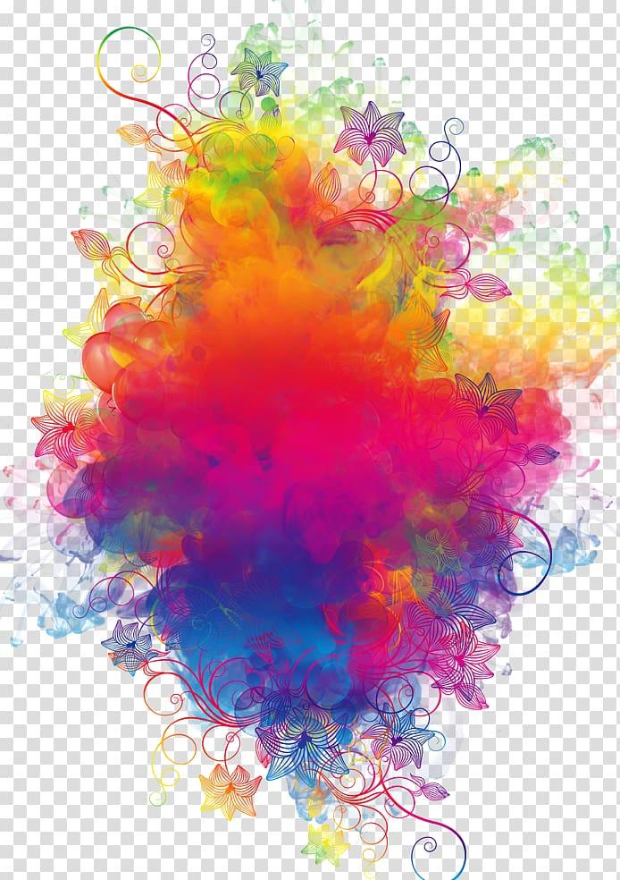 Fumée colorée, fleurs et coloris assortis png