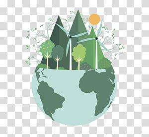 illustration du monde vert, environnement naturel santé environnementale durabilité protection de l'environnement respectueux de l'environnement, terre png