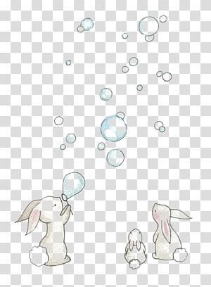 Lapin européen dessin illustration aquarelle, soufflant des bulles, lapins jouant illustration de bulles png