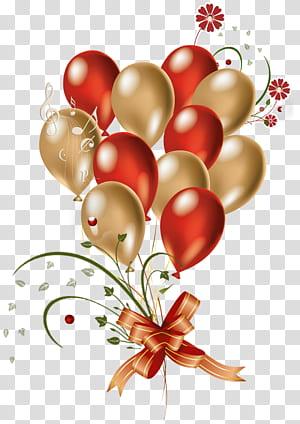 Balloon Gold, Ballons rouges et dorés, illustration de ballons png