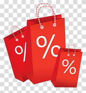 illustration de trois sacs à provisions rouges, Soldes de caddie, Sac shopping avec étiquette de remise png